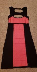 Sexy Bebe Black & Coral Bodycon Mini Dress Medium